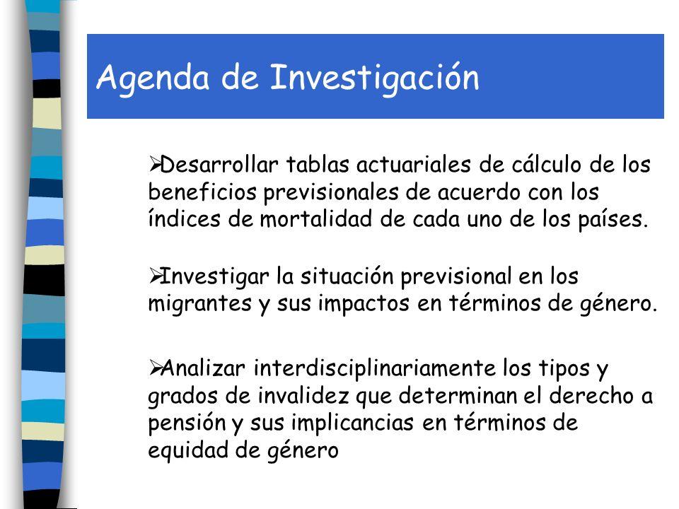 Agenda de Investigación Desarrollar tablas actuariales de cálculo de los beneficios previsionales de acuerdo con los índices de mortalidad de cada uno de los países.