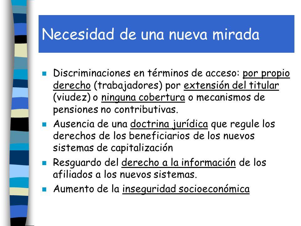 Necesidad de una nueva mirada n Discriminaciones en términos de acceso: por propio derecho (trabajadores) por extensión del titular (viudez) o ninguna cobertura o mecanismos de pensiones no contributivas.