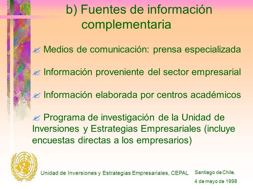 Santiago de Chile, 4 de mayo de 1998 Unidad de Inversiones y Estrategias Empresariales, CEPAL b) Fuentes de información complementaria .