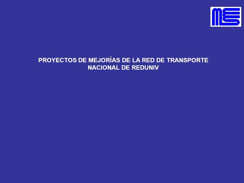 PROYECTOS DE MEJORÍAS DE LA RED DE TRANSPORTE NACIONAL DE REDUNIV