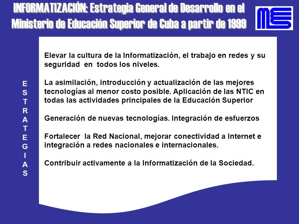 INFORMATIZACIÓN: Estrategia General de Desarrollo en el Ministerio de Educación Superior de Cuba a partir de 1999 INFORMATIZACIÓN: Estrategia General