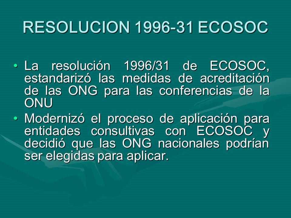 RESOLUCION 1996-31 ECOSOC La resolución 1996/31 de ECOSOC, estandarizó las medidas de acreditación de las ONG para las conferencias de la ONULa resolución 1996/31 de ECOSOC, estandarizó las medidas de acreditación de las ONG para las conferencias de la ONU Modernizó el proceso de aplicación para entidades consultivas con ECOSOC y decidió que las ONG nacionales podrían ser elegidas para aplicar.Modernizó el proceso de aplicación para entidades consultivas con ECOSOC y decidió que las ONG nacionales podrían ser elegidas para aplicar.