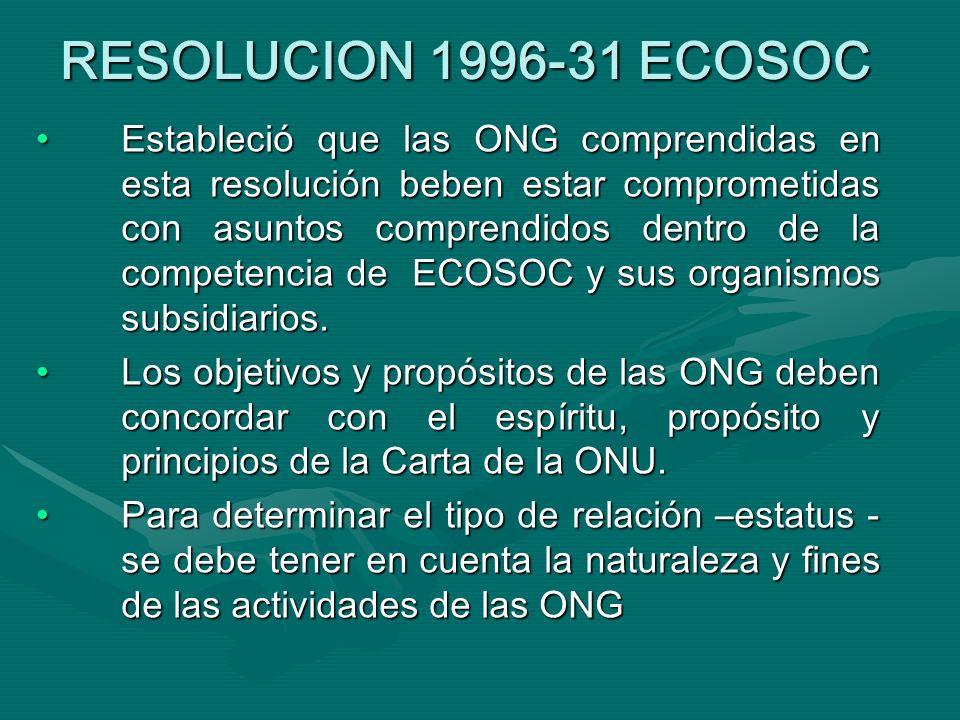 RESOLUCION 1996-31 ECOSOC Estableció que las ONG comprendidas en esta resolución beben estar comprometidas con asuntos comprendidos dentro de la competencia de ECOSOC y sus organismos subsidiarios.Estableció que las ONG comprendidas en esta resolución beben estar comprometidas con asuntos comprendidos dentro de la competencia de ECOSOC y sus organismos subsidiarios.