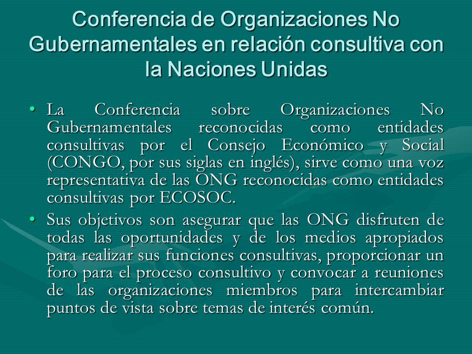 Conferencia de Organizaciones No Gubernamentales en relación consultiva con la Naciones Unidas La Conferencia sobre Organizaciones No Gubernamentales reconocidas como entidades consultivas por el Consejo Económico y Social (CONGO, por sus siglas en inglés), sirve como una voz representativa de las ONG reconocidas como entidades consultivas por ECOSOC.La Conferencia sobre Organizaciones No Gubernamentales reconocidas como entidades consultivas por el Consejo Económico y Social (CONGO, por sus siglas en inglés), sirve como una voz representativa de las ONG reconocidas como entidades consultivas por ECOSOC.