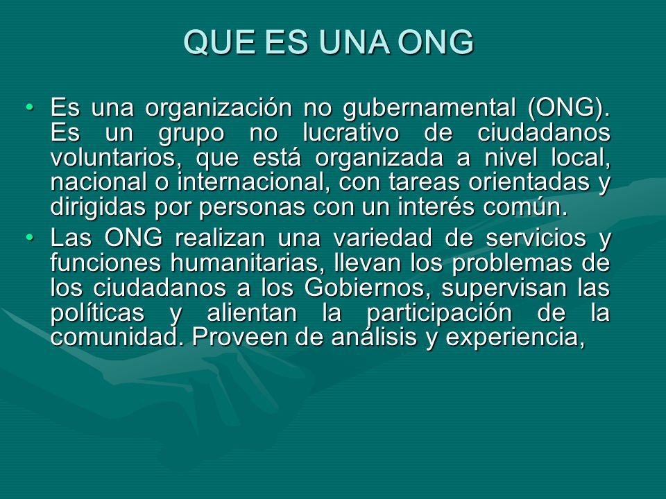 QUE ES UNA ONG Es una organización no gubernamental (ONG).
