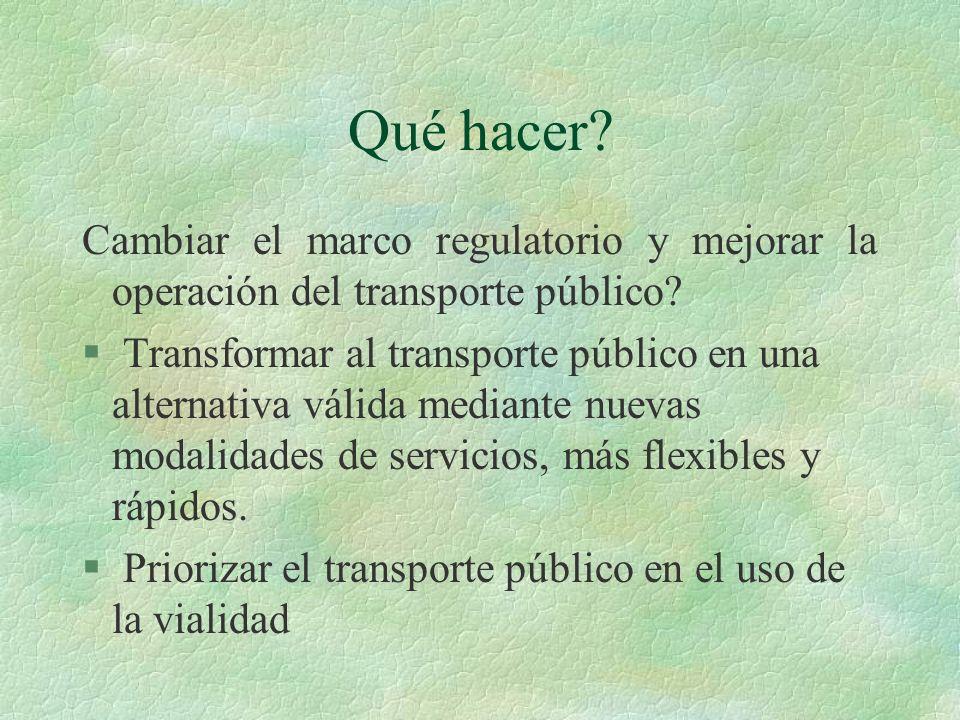 Qué hacer? Cambiar el marco regulatorio y mejorar la operación del transporte público? § Transformar al transporte público en una alternativa válida m