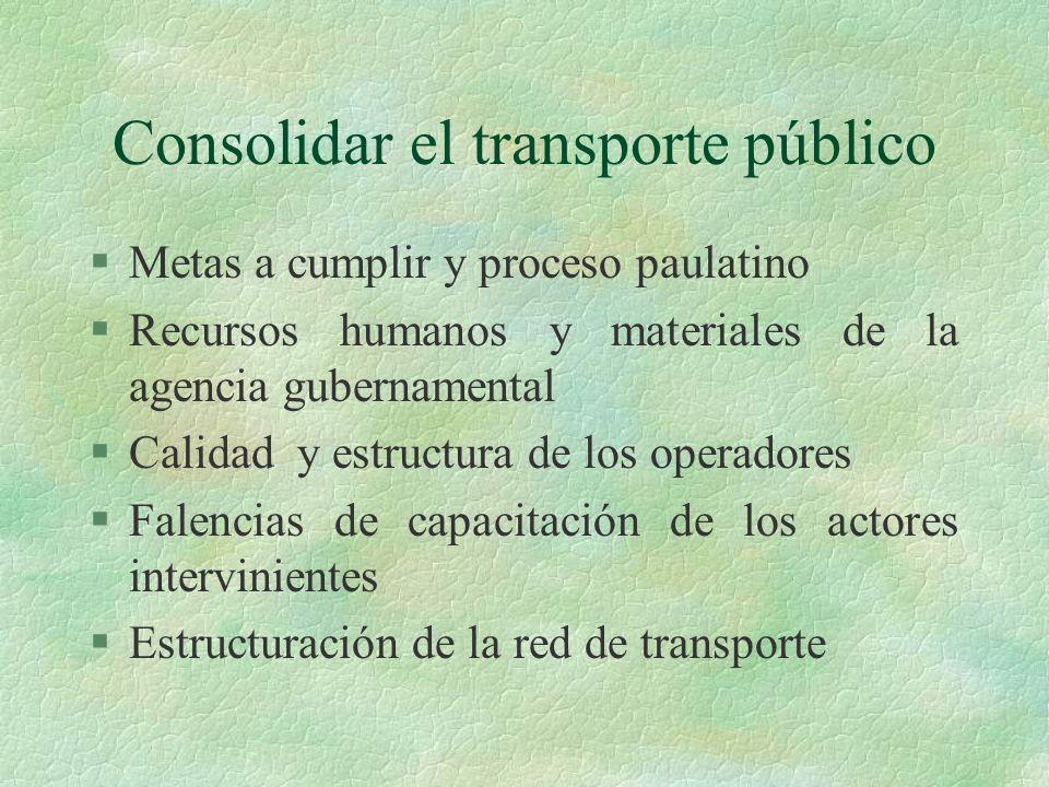 El transporte informal §Características diferenciadas en las distintas ciudades en función de: §Marco regulatorio de la actividad §Aspectos macroeconómicos §Organización y aptitud de las agencias de gestión del sistema.