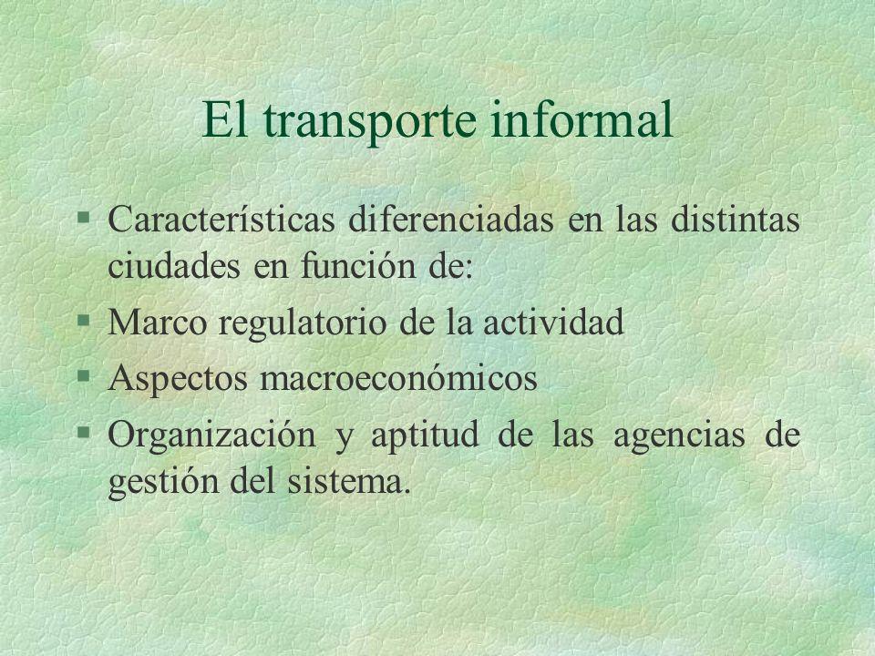 El transporte informal §Características diferenciadas en las distintas ciudades en función de: §Marco regulatorio de la actividad §Aspectos macroeconó