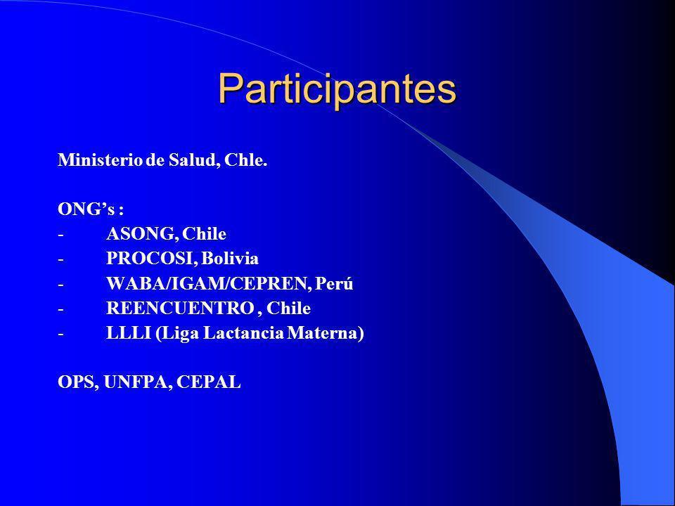 Participantes Ministerio de Salud, Chle. ONGs : - ASONG, Chile - PROCOSI, Bolivia - WABA/IGAM/CEPREN, Perú - REENCUENTRO, Chile - LLLI (Liga Lactancia