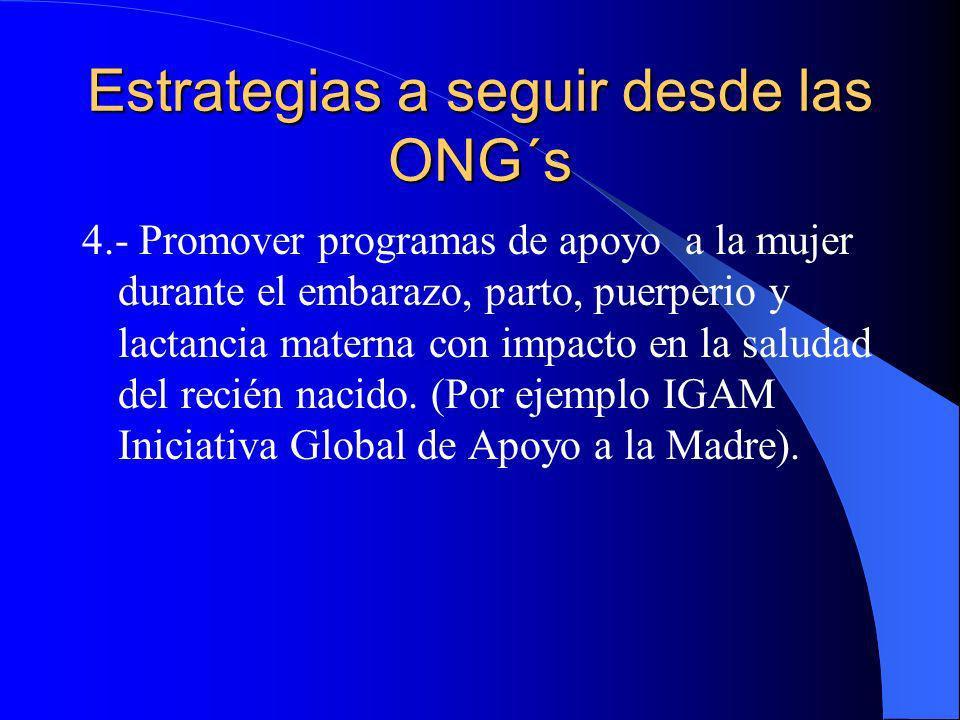 Estrategias a seguir desde las ONG´s 4.- Promover programas de apoyo a la mujer durante el embarazo, parto, puerperio y lactancia materna con impacto