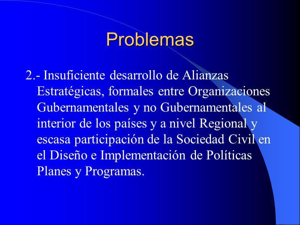 Problemas 2.- Insuficiente desarrollo de Alianzas Estratégicas, formales entre Organizaciones Gubernamentales y no Gubernamentales al interior de los
