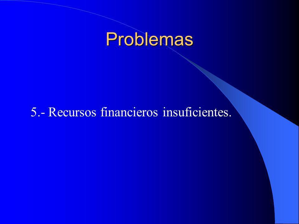 Problemas 5.- Recursos financieros insuficientes.
