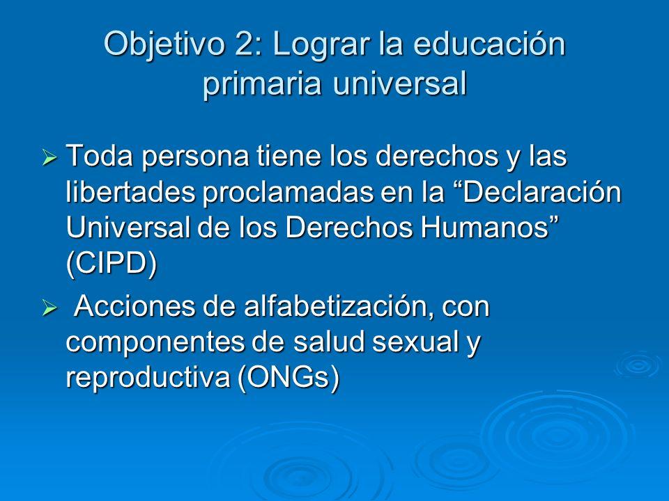 Objetivo 2: Lograr la educación primaria universal Toda persona tiene los derechos y las libertades proclamadas en la Declaración Universal de los Der