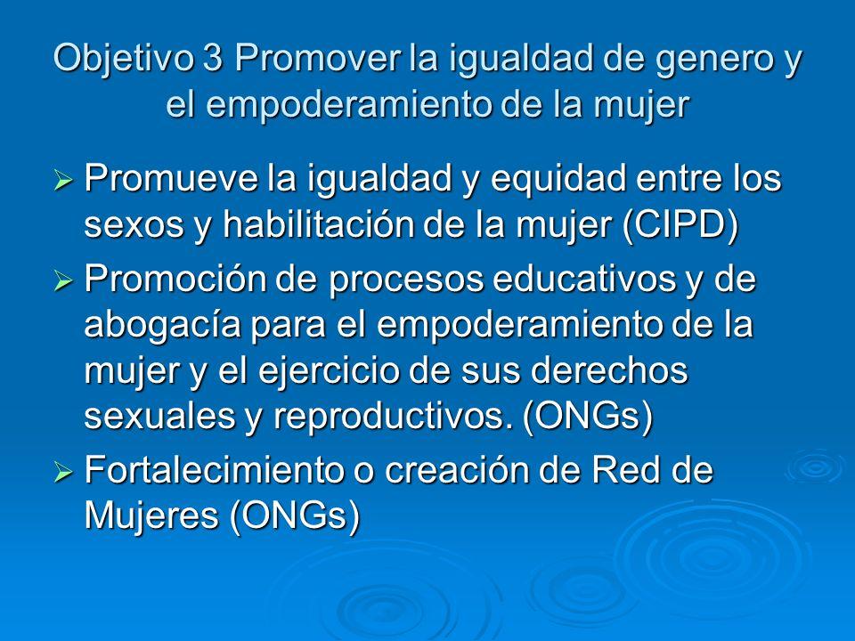 Objetivo 4: Reducir la mortalidad de la infancia Trabajar por la supervivencia y salud de los niños (CIPD) Trabajar por la supervivencia y salud de los niños (CIPD) Desarrollo de proyectos de supervivencia infantil que promueven la lactancia materna y el control, seguimiento de la salud de los y las niñas (ONGs) Desarrollo de proyectos de supervivencia infantil que promueven la lactancia materna y el control, seguimiento de la salud de los y las niñas (ONGs)