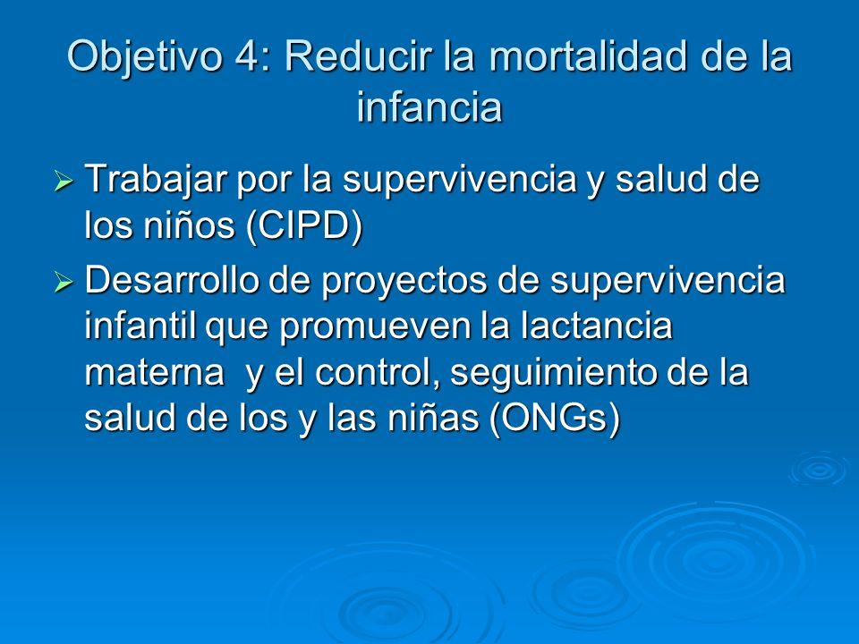 Objetivo 4: Reducir la mortalidad de la infancia Trabajar por la supervivencia y salud de los niños (CIPD) Trabajar por la supervivencia y salud de lo