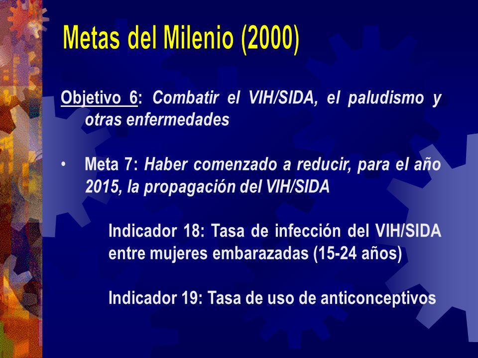 Objetivo 6: Combatir el VIH/SIDA, el paludismo y otras enfermedades Meta 7: Haber comenzado a reducir, para el año 2015, la propagación del VIH/SIDA I