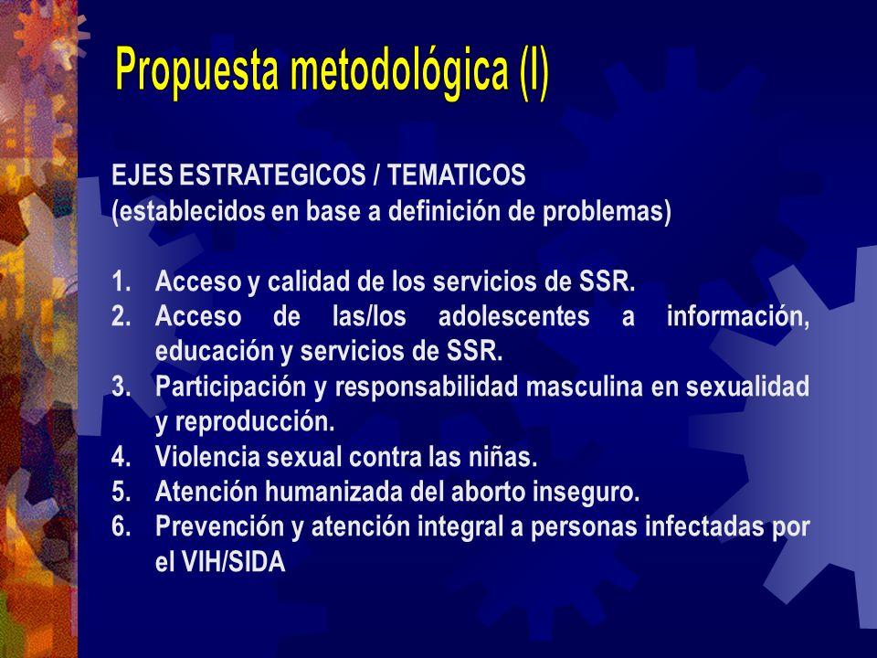 EJES ESTRATEGICOS / TEMATICOS (establecidos en base a definición de problemas) 1.Acceso y calidad de los servicios de SSR. 2.Acceso de las/los adolesc
