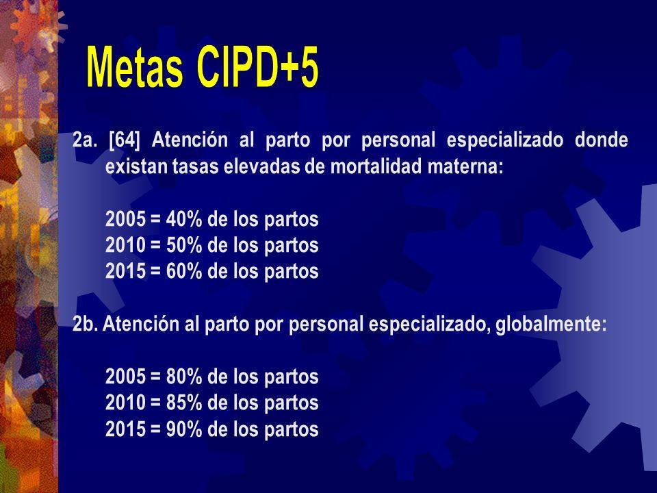 2a. [64] Atención al parto por personal especializado donde existan tasas elevadas de mortalidad materna: 2005 = 40% de los partos 2010 = 50% de los p