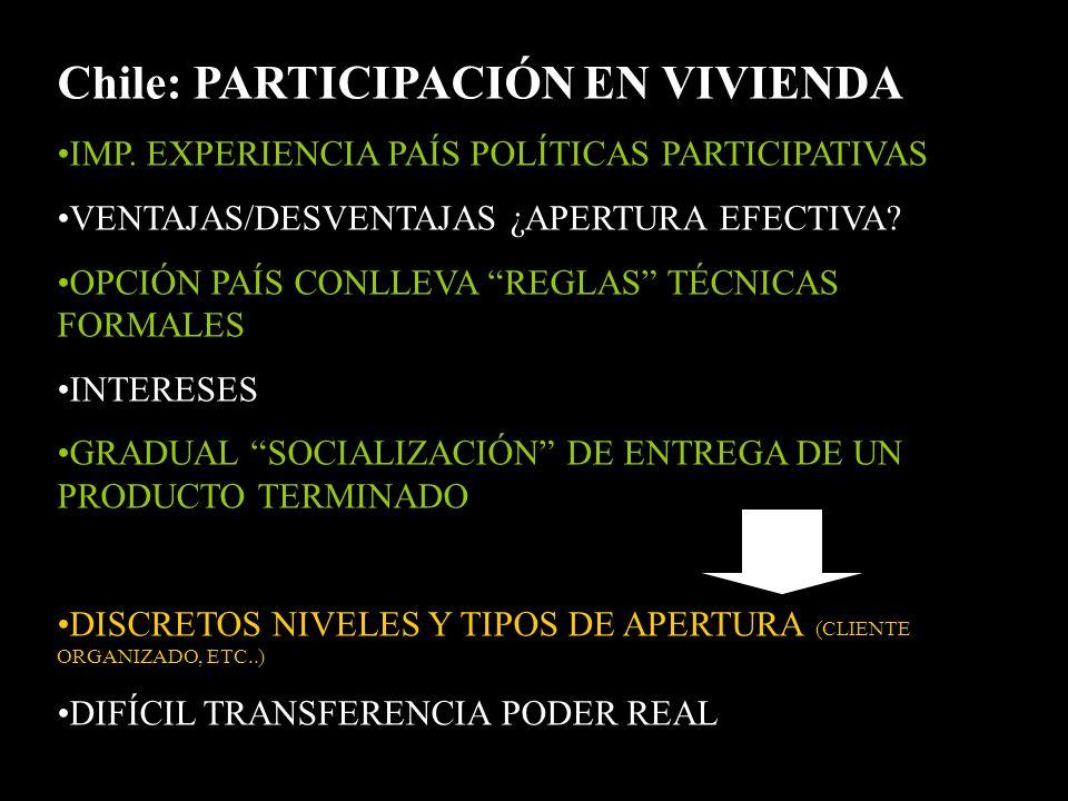 Chile: PARTICIPACIÓN EN VIVIENDA IMP.