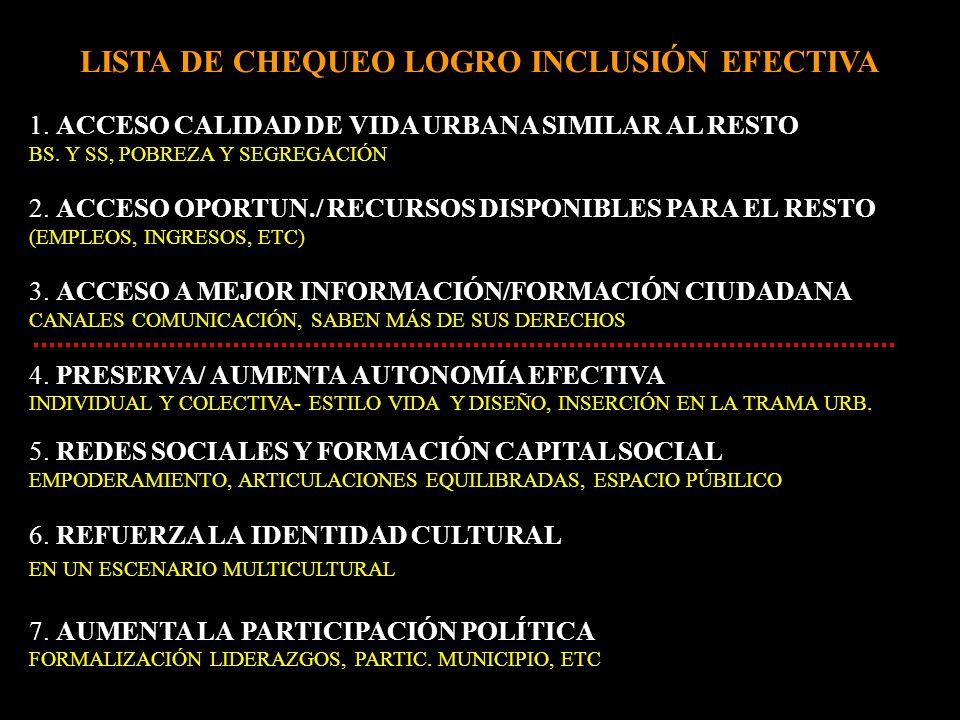 LISTA DE CHEQUEO LOGRO INCLUSIÓN EFECTIVA 1. ACCESO CALIDAD DE VIDA URBANA SIMILAR AL RESTO BS.