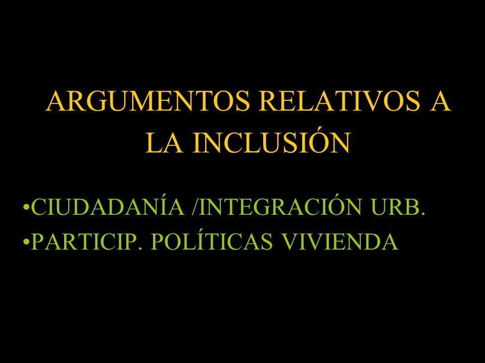 ARGUMENTOS RELATIVOS A LA INCLUSIÓN CIUDADANÍA /INTEGRACIÓN URB. PARTICIP. POLÍTICAS VIVIENDA