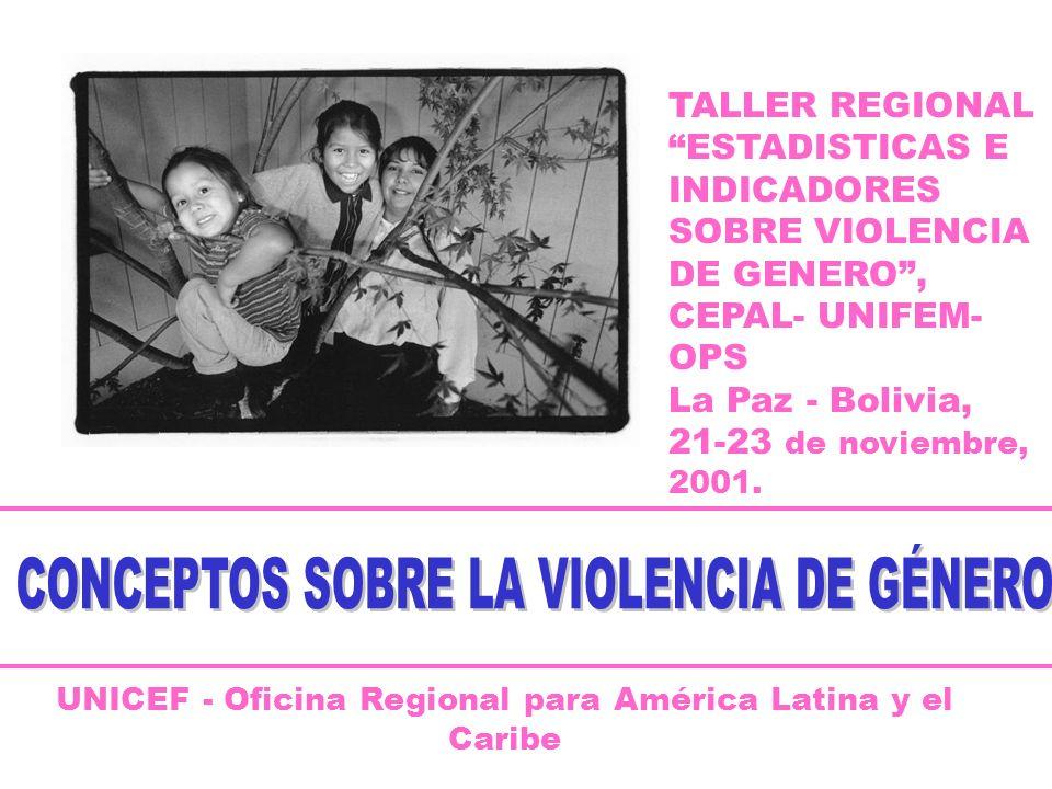 UNICEF - Oficina Regional para América Latina y el Caribe TALLER REGIONAL ESTADISTICAS E INDICADORES SOBRE VIOLENCIA DE GENERO, CEPAL- UNIFEM- OPS La