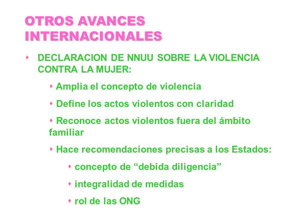 DECLARACION DE NNUU SOBRE LA VIOLENCIA CONTRA LA MUJER: Amplia el concepto de violencia Define los actos violentos con claridad Reconoce actos violent