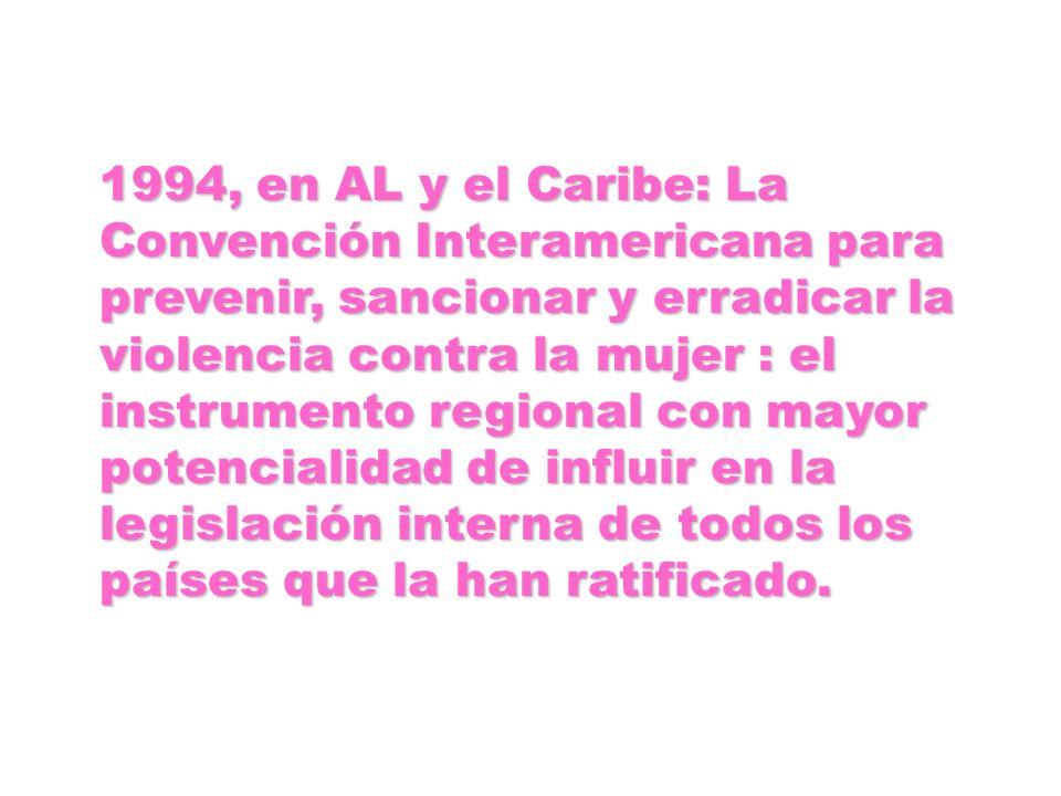 1994, en AL y el Caribe: La Convención Interamericana para prevenir, sancionar y erradicar la violencia contra la mujer : el instrumento regional con