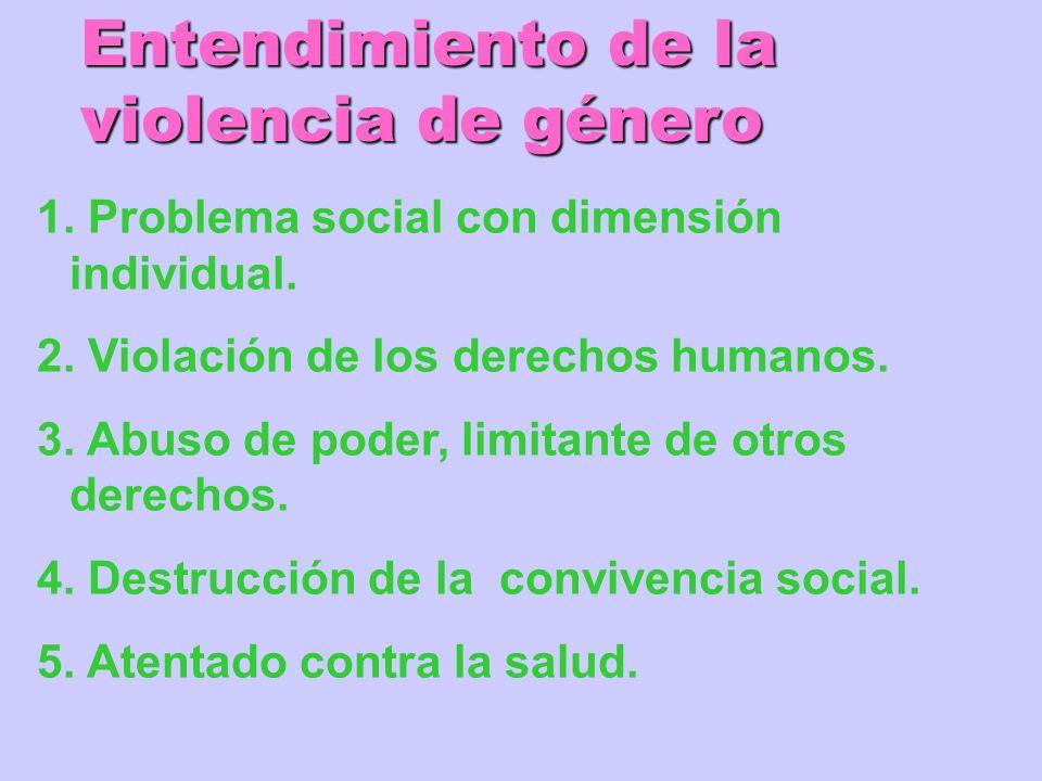 1. Problema social con dimensión individual. 2. Violación de los derechos humanos. 3. Abuso de poder, limitante de otros derechos. 4. Destrucción de l