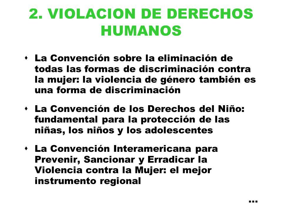 2. VIOLACION DE DERECHOS HUMANOS La Convención sobre la eliminación de todas las formas de discriminación contra la mujer: la violencia de género tamb