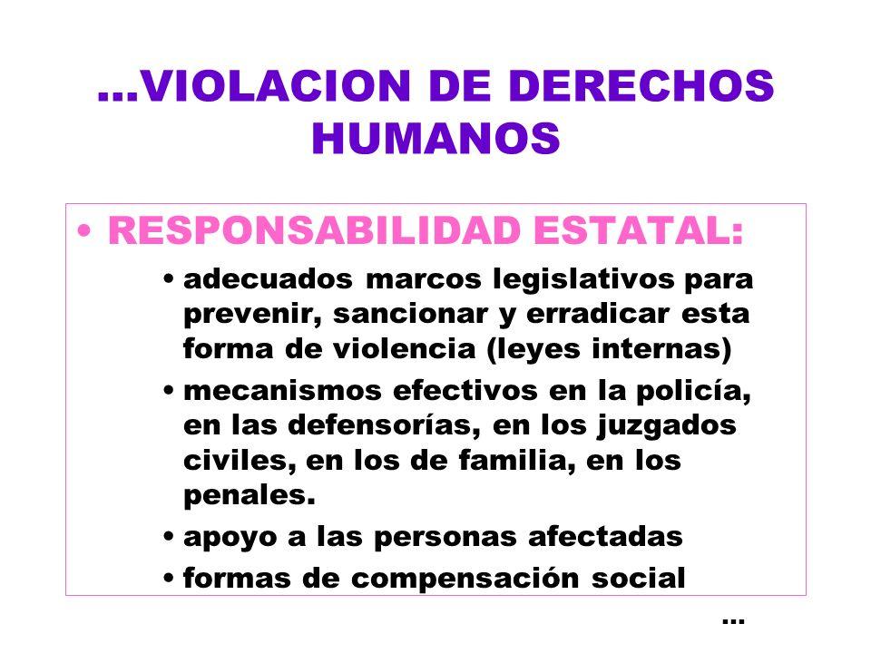 ...VIOLACION DE DERECHOS HUMANOS RESPONSABILIDAD ESTATAL: adecuados marcos legislativos para prevenir, sancionar y erradicar esta forma de violencia (