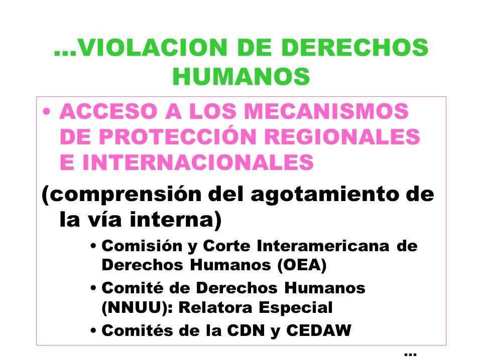 ...VIOLACION DE DERECHOS HUMANOS ACCESO A LOS MECANISMOS DE PROTECCIÓN REGIONALES E INTERNACIONALES (comprensión del agotamiento de la vía interna) Co