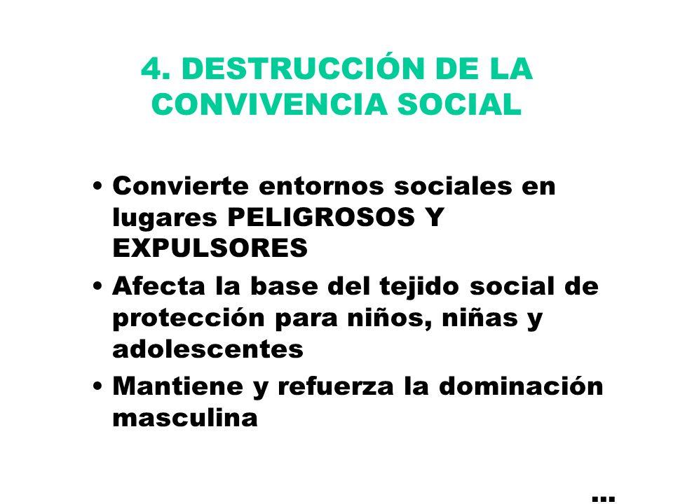 4. DESTRUCCIÓN DE LA CONVIVENCIA SOCIAL Convierte entornos sociales en lugares PELIGROSOS Y EXPULSORES Afecta la base del tejido social de protección