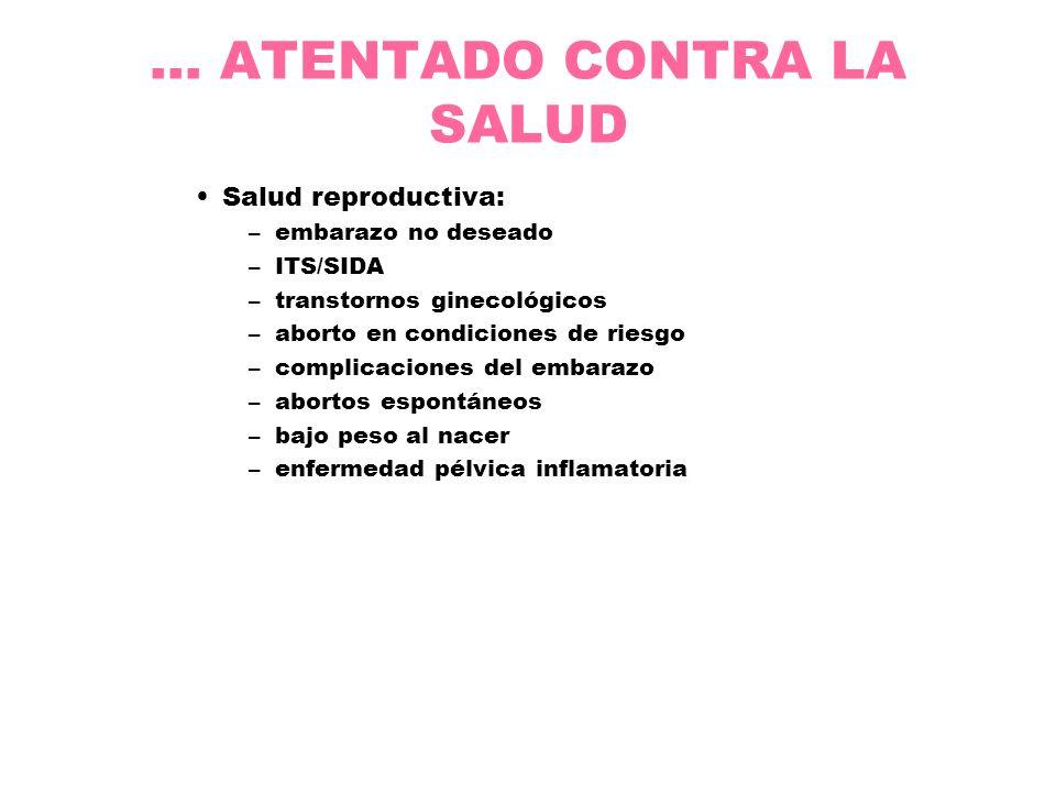 ... ATENTADO CONTRA LA SALUD Salud reproductiva: –embarazo no deseado –ITS/SIDA –transtornos ginecológicos –aborto en condiciones de riesgo –complicac