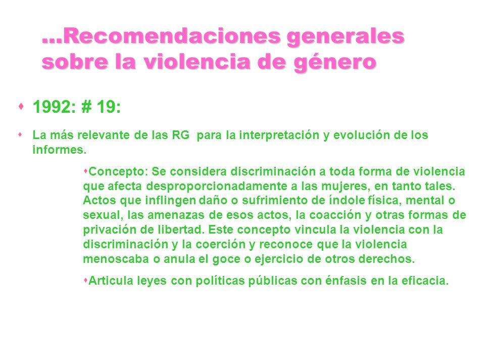1992: # 19: La más relevante de las RG para la interpretación y evolución de los informes. Concepto: Se considera discriminación a toda forma de viole
