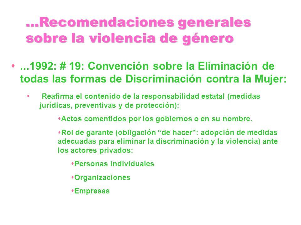 ...1992: # 19: Convención sobre la Eliminación de todas las formas de Discriminación contra la Mujer: Reafirma el contenido de la responsabilidad esta