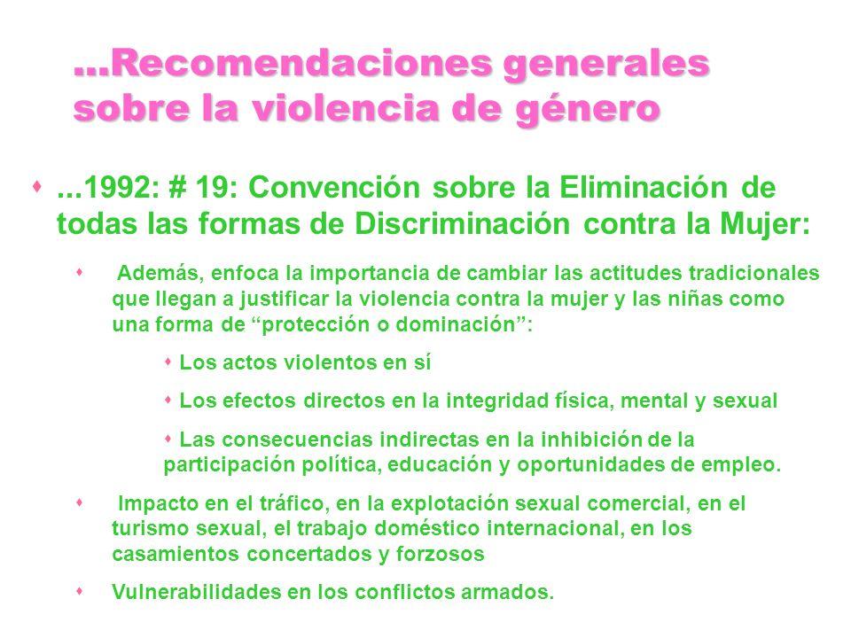 ...1992: # 19: Convención sobre la Eliminación de todas las formas de Discriminación contra la Mujer: Además, enfoca la importancia de cambiar las act