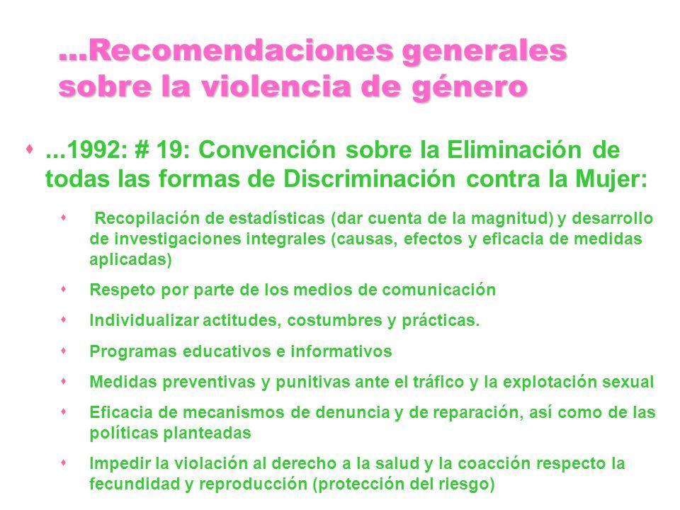 ...1992: # 19: Convención sobre la Eliminación de todas las formas de Discriminación contra la Mujer: Recopilación de estadísticas (dar cuenta de la m