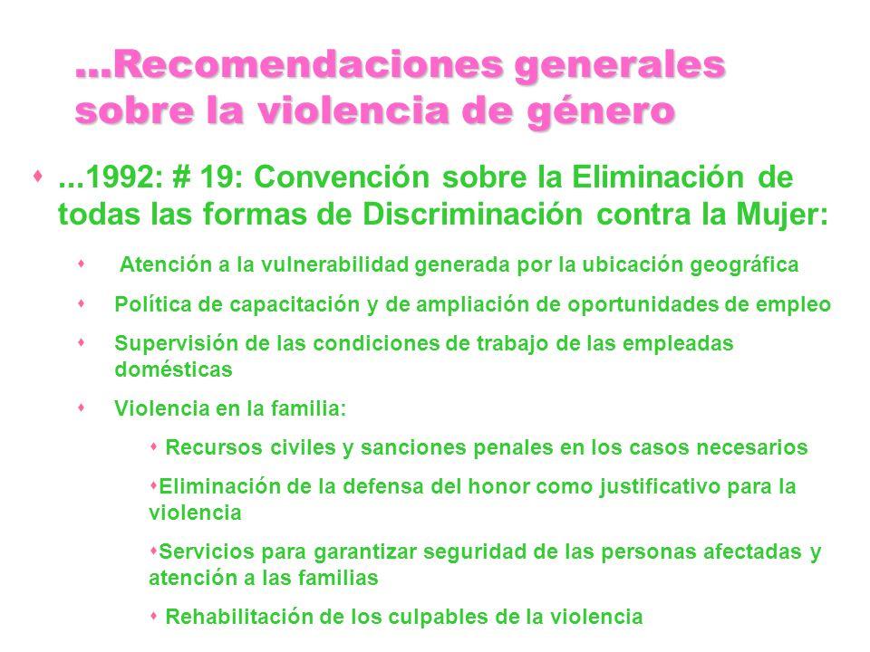 ...1992: # 19: Convención sobre la Eliminación de todas las formas de Discriminación contra la Mujer: Atención a la vulnerabilidad generada por la ubi