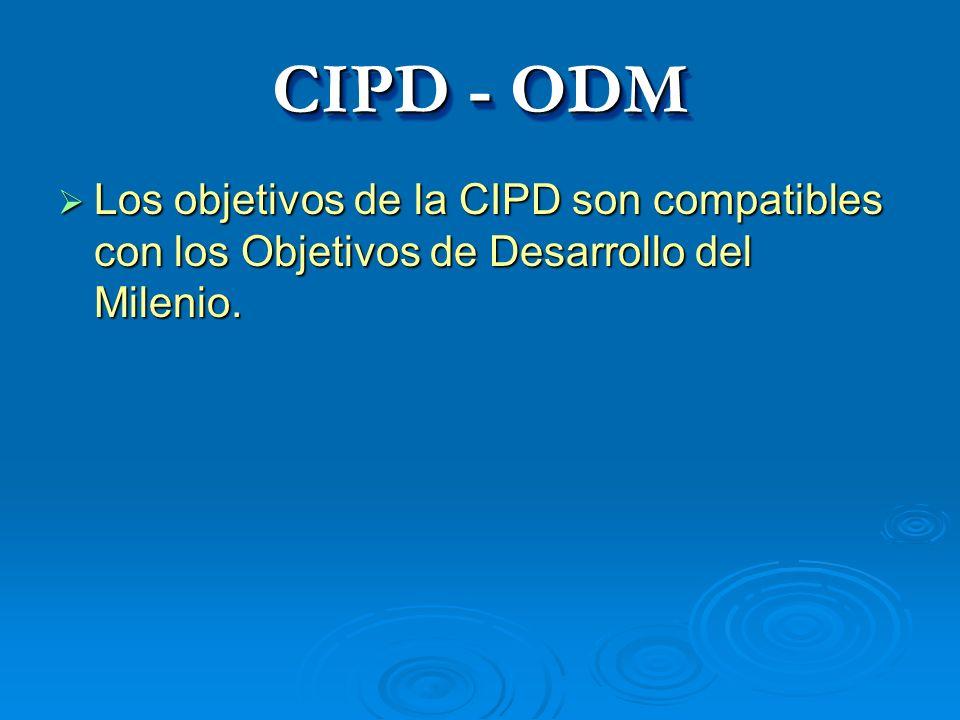 CIPD - ODM Los objetivos de la CIPD son compatibles con los Objetivos de Desarrollo del Milenio. Los objetivos de la CIPD son compatibles con los Obje