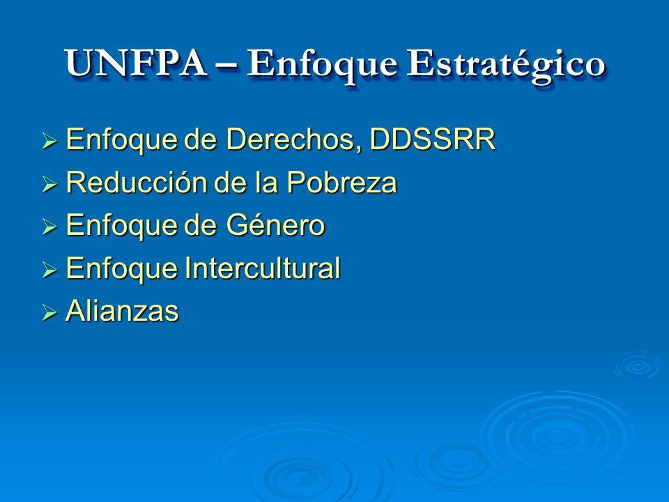 UNFPA – Enfoque Estratégico Enfoque de Derechos, DDSSRR Enfoque de Derechos, DDSSRR Reducción de la Pobreza Reducción de la Pobreza Enfoque de Género