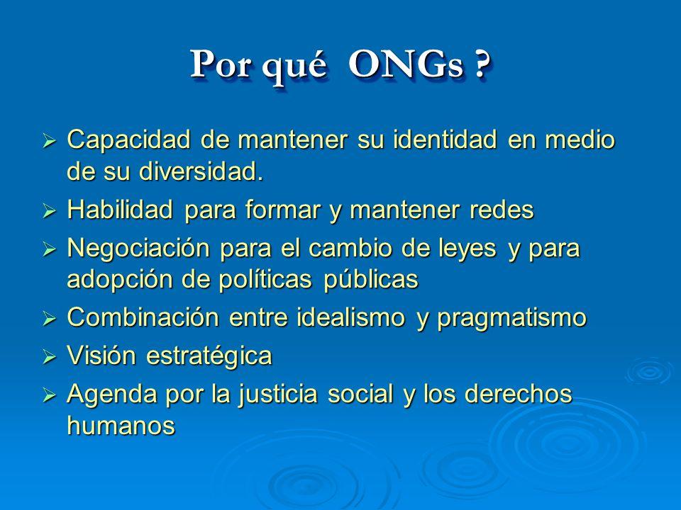 Por qué ONGs ? Capacidad de mantener su identidad en medio de su diversidad. Capacidad de mantener su identidad en medio de su diversidad. Habilidad p