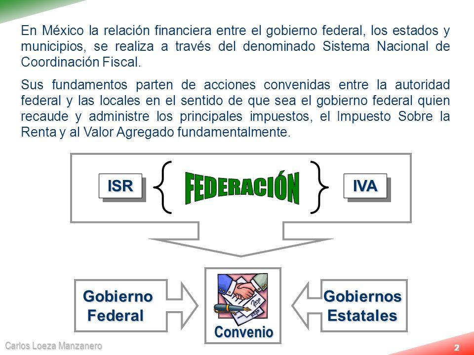 Carlos Loeza Manzanero 2 En México la relación financiera entre el gobierno federal, los estados y municipios, se realiza a través del denominado Sist