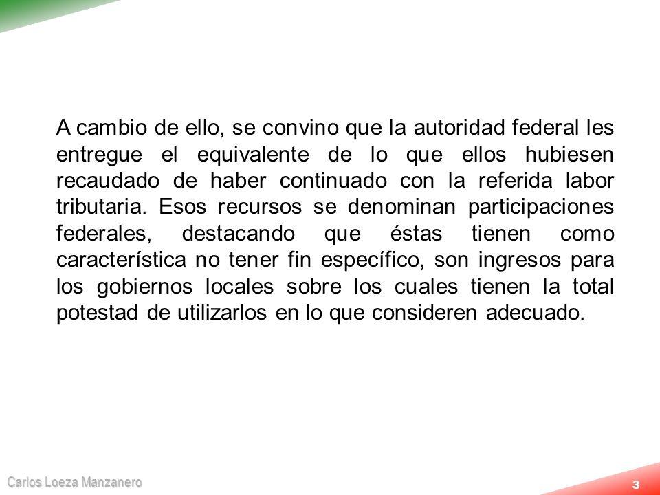 Carlos Loeza Manzanero 4PARTICIPACIONES Recaudación Federal Participable (RFP) 25% a Estados Se definen en la Ley de Coordinación Fiscal Impuestos ISR-IVA Producción y Servicios Derechos por extracción de Petróleo y Minería Menos Devoluciones 20% a Municipios