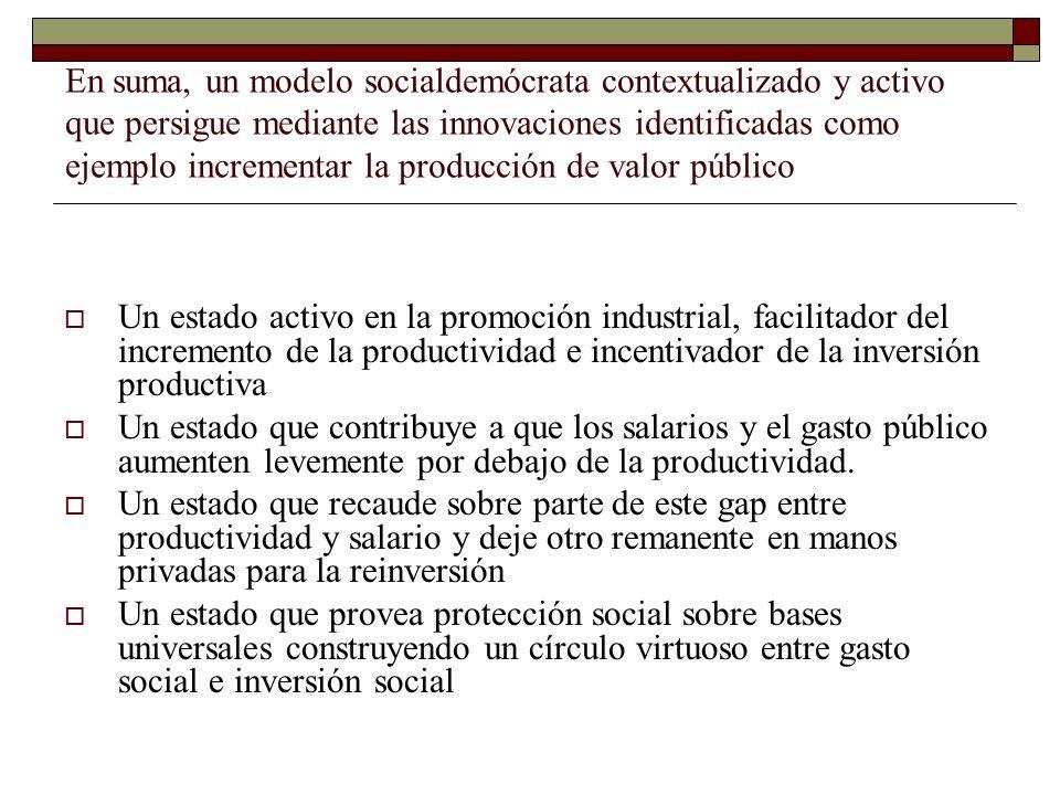 En suma, un modelo socialdemócrata contextualizado y activo que persigue mediante las innovaciones identificadas como ejemplo incrementar la producció