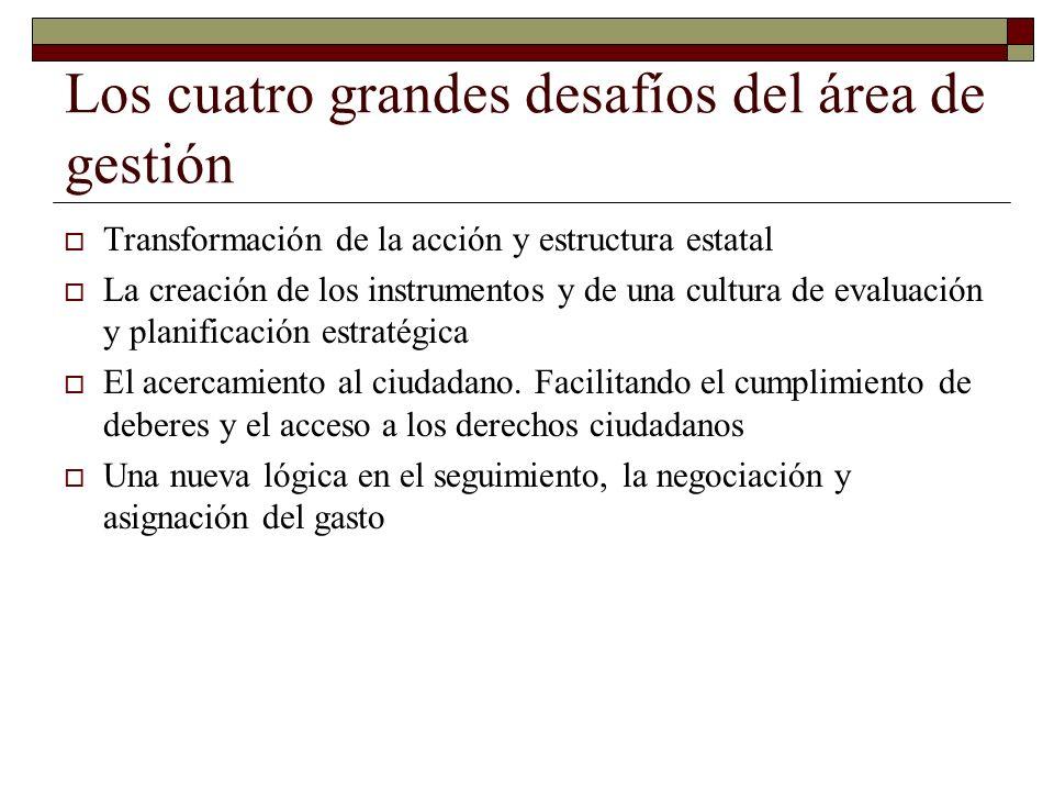 Los cuatro grandes desafíos del área de gestión Transformación de la acción y estructura estatal La creación de los instrumentos y de una cultura de evaluación y planificación estratégica El acercamiento al ciudadano.