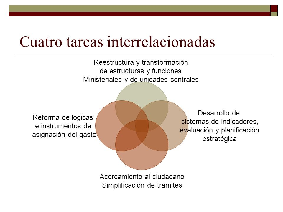 Cuatro tareas interrelacionadas Reestructura y transformación de estructuras y funciones Ministeriales y de unidades centrales Desarrollo de sistemas de indicadores, evaluación y planificación estratégica Acercamiento al ciudadano Simplificación de trámites Reforma de lógicas e instrumentos de asignación del gasto