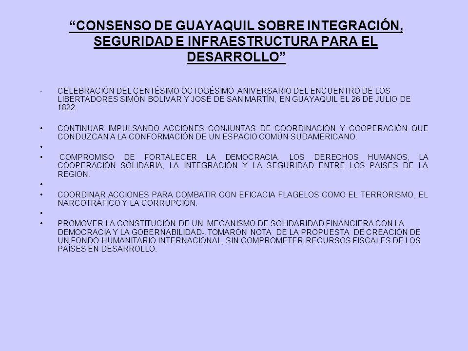 CONSENSO DE GUAYAQUIL SOBRE INTEGRACIÓN, SEGURIDAD E INFRAESTRUCTURA PARA EL DESARROLLO ·CELEBRACIÓN DEL CENTÉSIMO OCTOGÉSIMO ANIVERSARIO DEL ENCUENTR