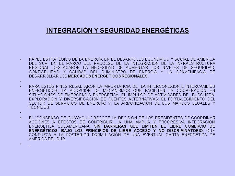 INTEGRACIÓN Y SEGURIDAD ENERGÈTICAS PAPEL ESTRATÉGICO DE LA ENERGÍA EN EL DESARROLLO ECONÓMICO Y SOCIAL DE AMÉRICA DEL SUR. EN EL MARCO DEL PROCESO DE