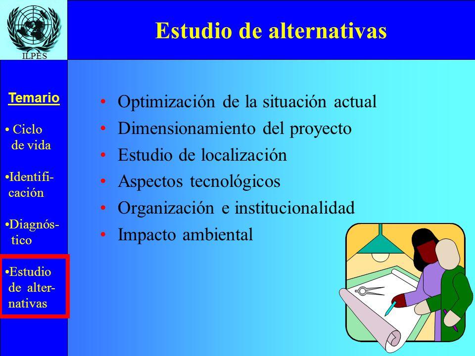Ciclo de vida Identifi- cación Diagnós- tico Estudio de alter- nativas Temario ILPES Estudio de alternativas Optimización de la situación actual Dimen